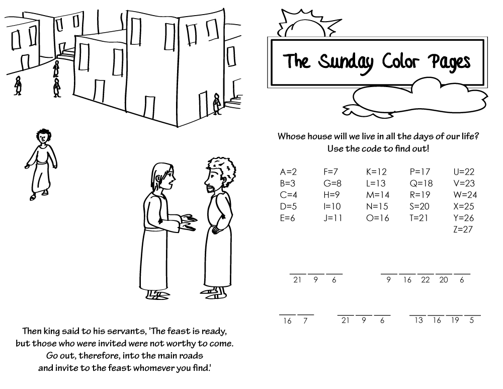 28th Sunday In Ordinary Time Coloring Pages Atx Catholic Peter And Cornelius