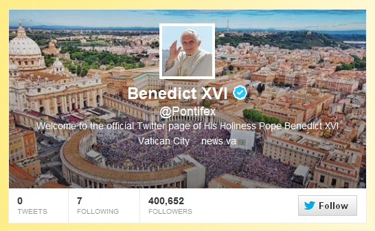 Pope Benedict XVI adopts another name: @Pontifex