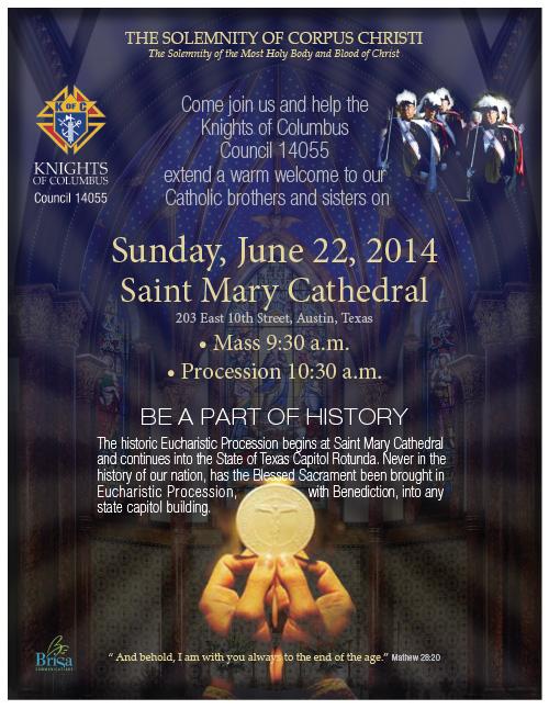 Eucharist: God will bless Texas on the feast of Corpus Christi June 22